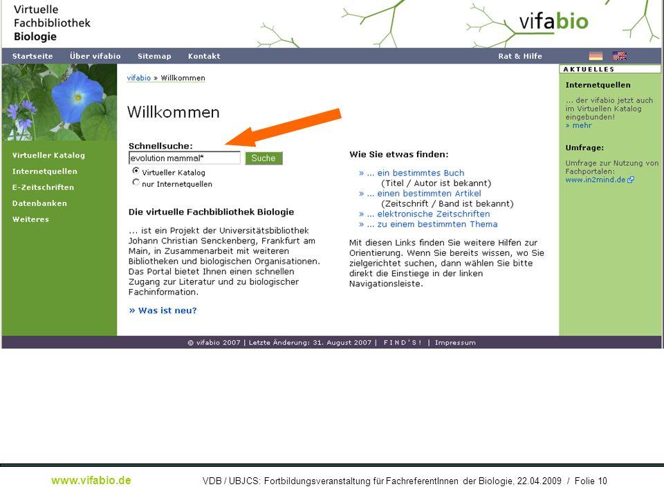 [ Bildschirmfoto: ] Recherche auf Startseite